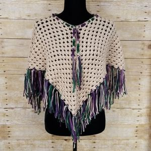 Sweaters - Handmade Crochet Boho Poncho With Fringe